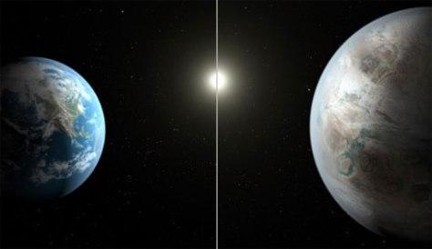 Imagen que compara a Kepler-452b con la Tierra. Foto: NASA